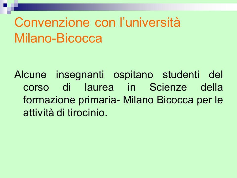 Convenzione con l'università Milano-Bicocca