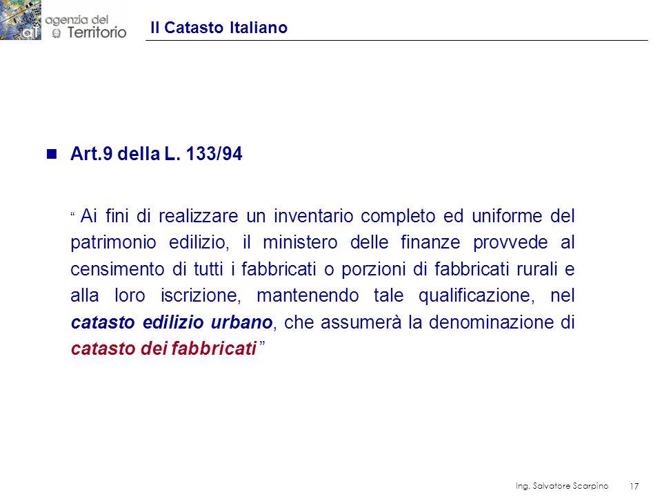 Art.9 della L. 133/94 Il Catasto Italiano
