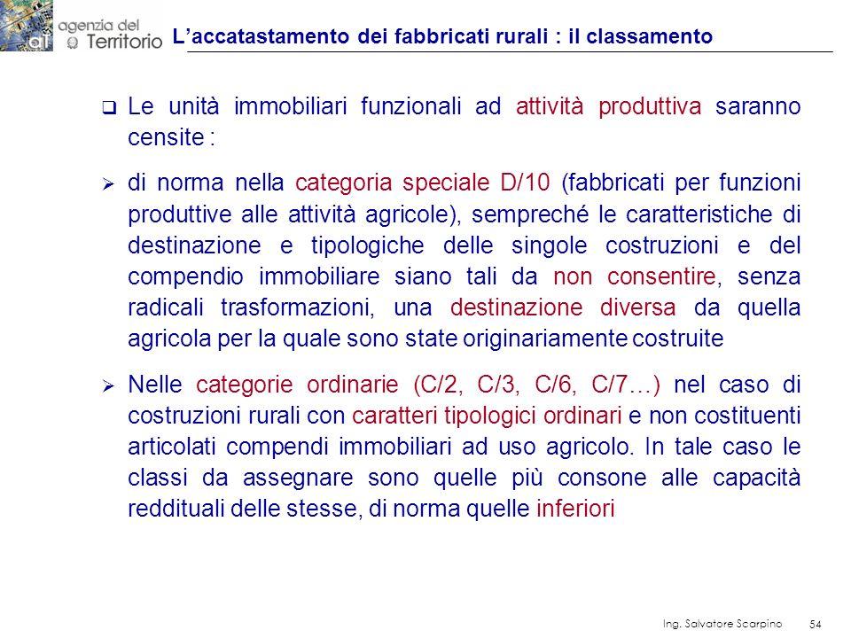 L'accatastamento dei fabbricati rurali : il classamento