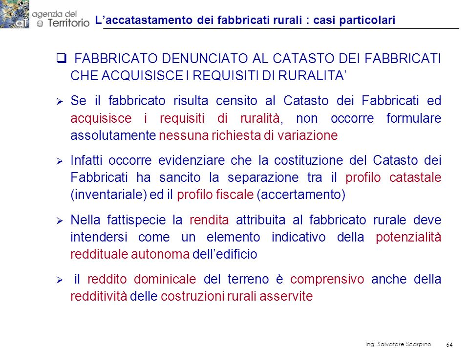 L'accatastamento dei fabbricati rurali : casi particolari
