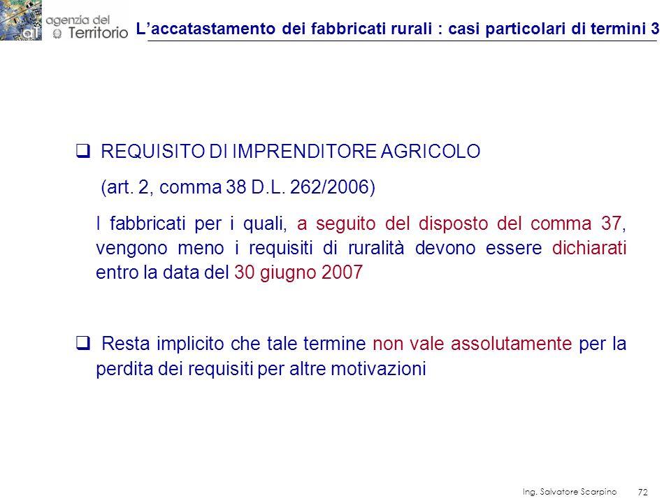 L'accatastamento dei fabbricati rurali : casi particolari di termini 3
