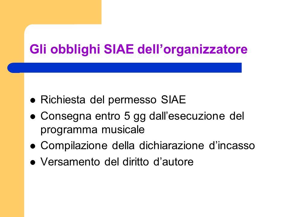 Gli obblighi SIAE dell'organizzatore