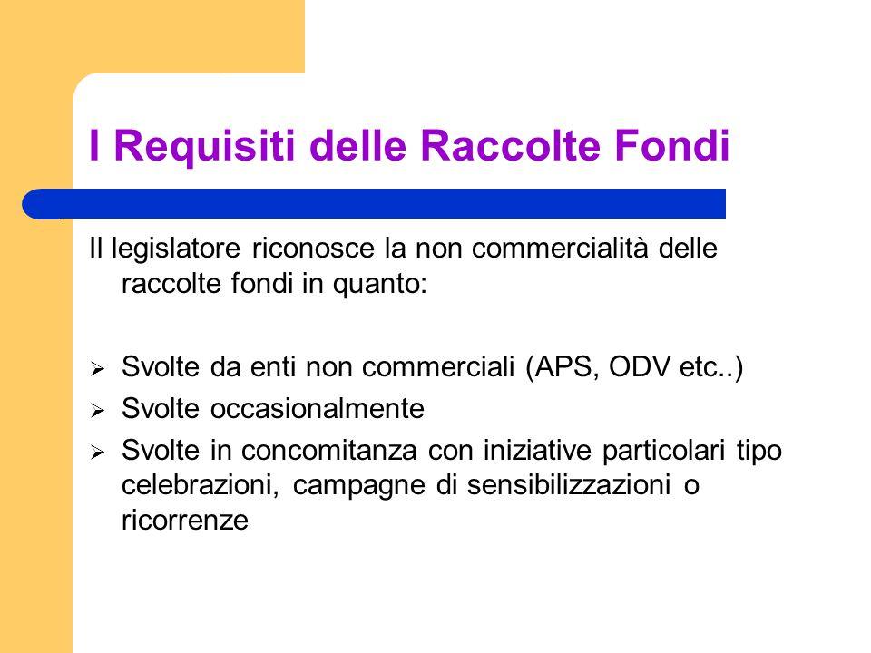 I Requisiti delle Raccolte Fondi