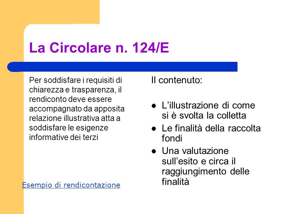 La Circolare n. 124/E Il contenuto: