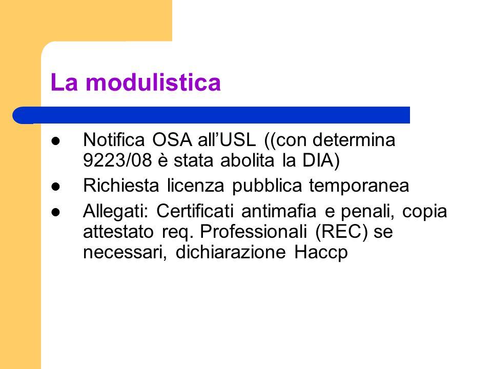 La modulistica Notifica OSA all'USL ((con determina 9223/08 è stata abolita la DIA) Richiesta licenza pubblica temporanea.