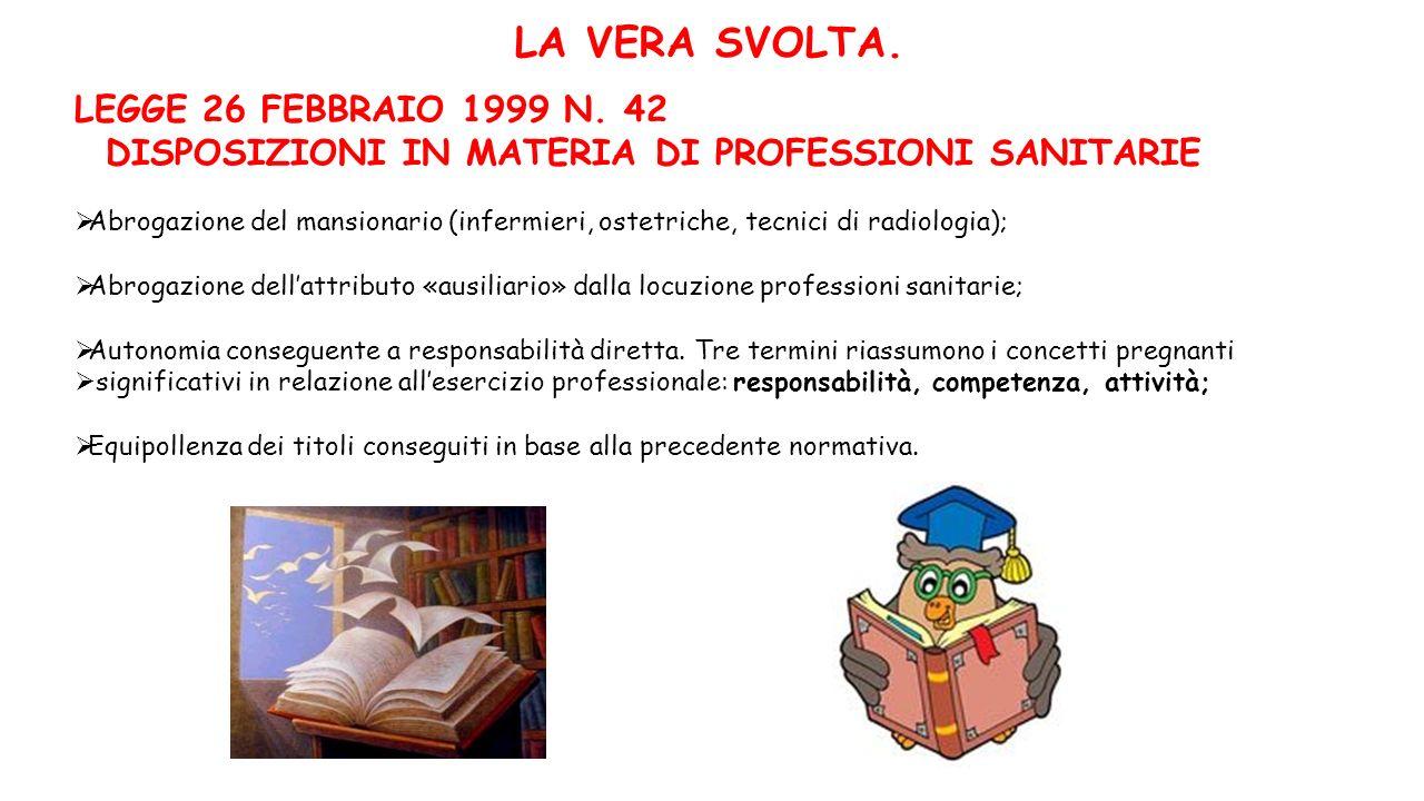 LA VERA SVOLTA. LEGGE 26 FEBBRAIO 1999 N. 42