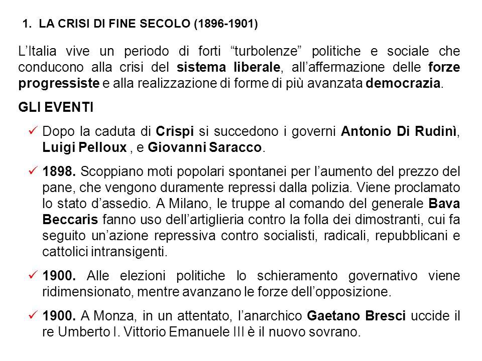 1. LA CRISI DI FINE SECOLO (1896-1901)