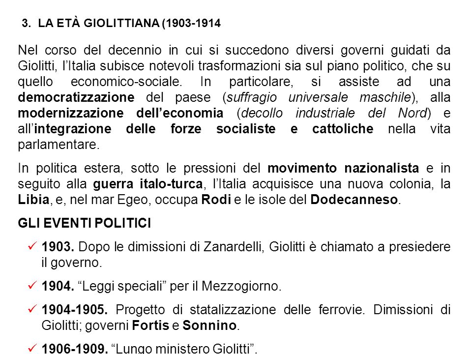 1904. Leggi speciali per il Mezzogiorno.