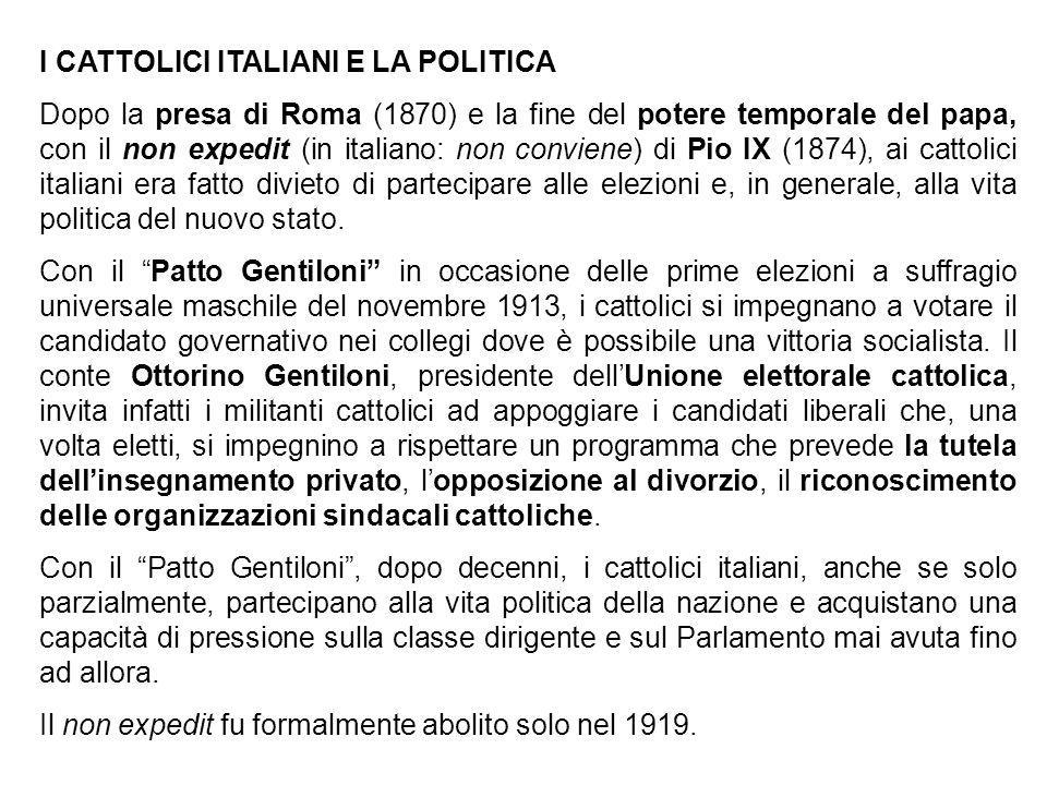 I CATTOLICI ITALIANI E LA POLITICA