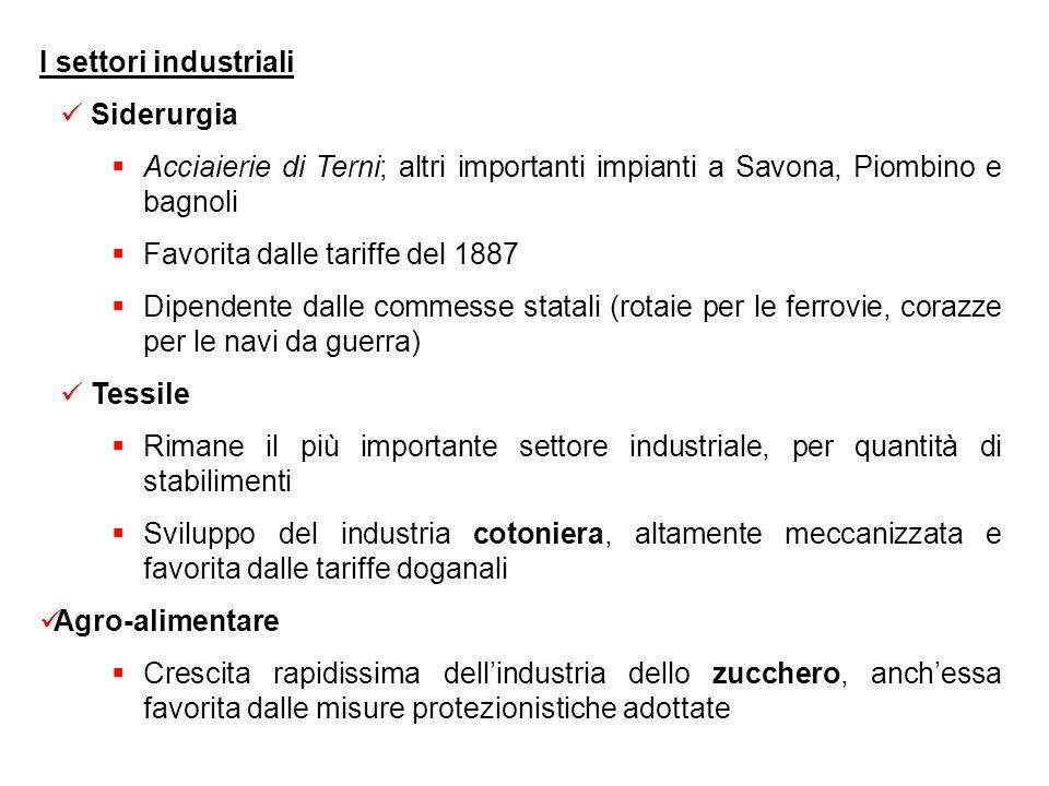 I settori industriali Siderurgia. Acciaierie di Terni; altri importanti impianti a Savona, Piombino e bagnoli.