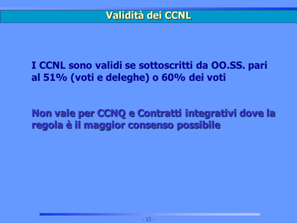Validità dei CCNL I CCNL sono validi se sottoscritti da OO.SS. pari al 51% (voti e deleghe) o 60% dei voti.