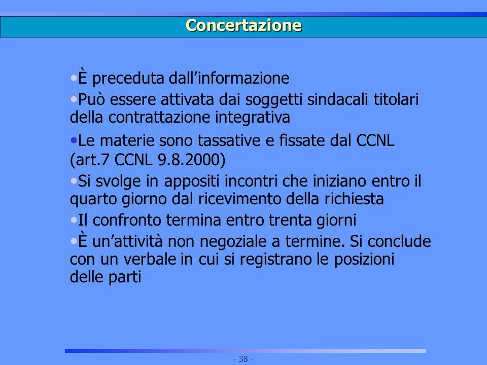 Concertazione È preceduta dall'informazione. Può essere attivata dai soggetti sindacali titolari della contrattazione integrativa.