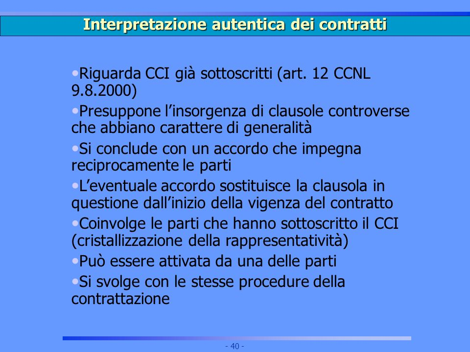 Interpretazione autentica dei contratti