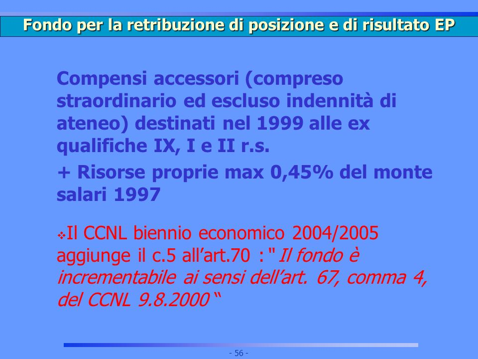 Fondo per la retribuzione di posizione e di risultato EP