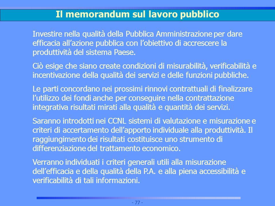 Il memorandum sul lavoro pubblico