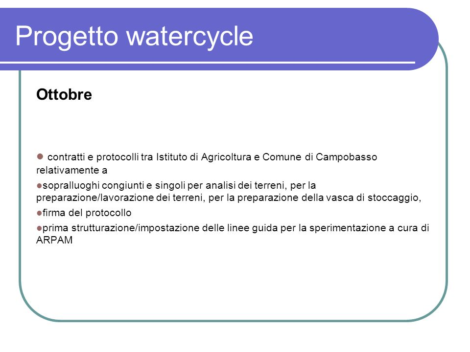 Progetto watercycle Ottobre