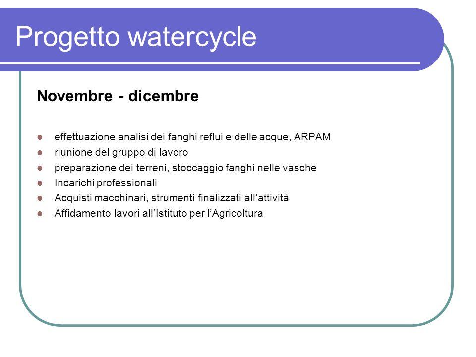 Progetto watercycle Novembre - dicembre