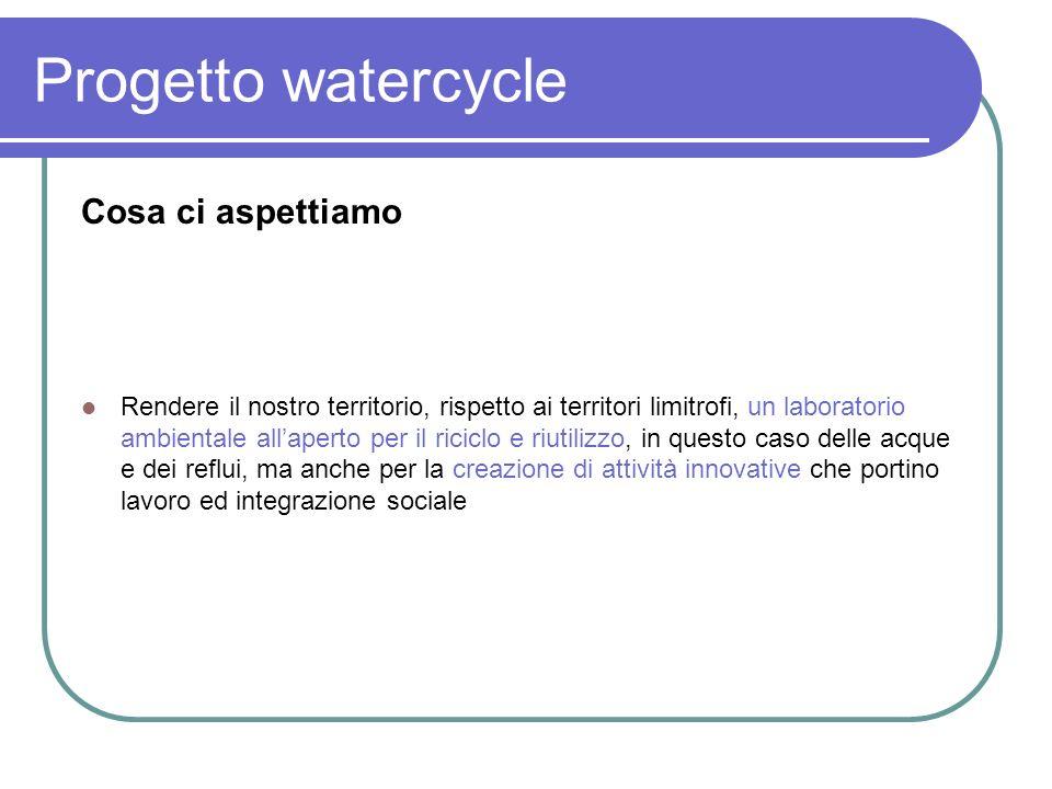 Progetto watercycle Cosa ci aspettiamo
