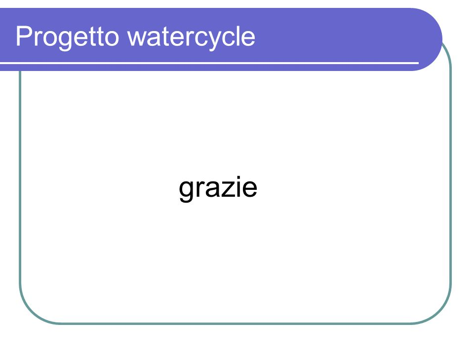 Progetto watercycle grazie