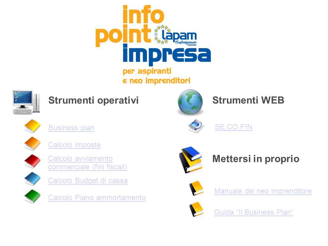 Strumenti operativi Strumenti WEB Mettersi in proprio SE.CO.FIN