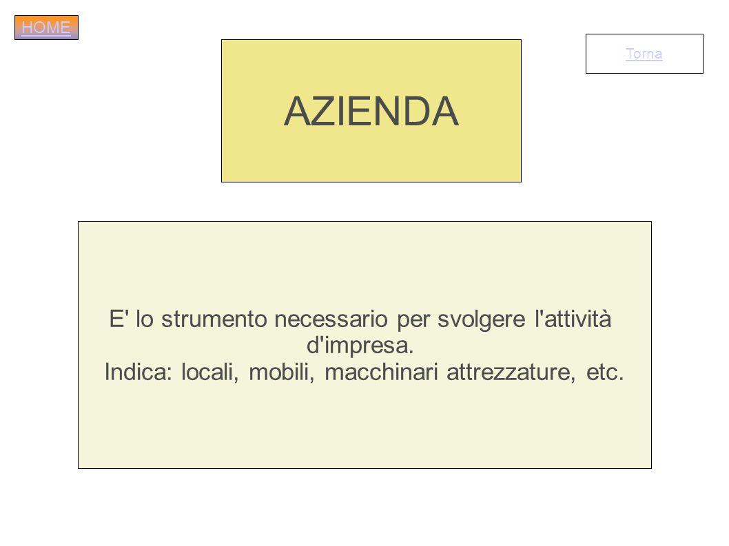 AZIENDA E lo strumento necessario per svolgere l attività d impresa.