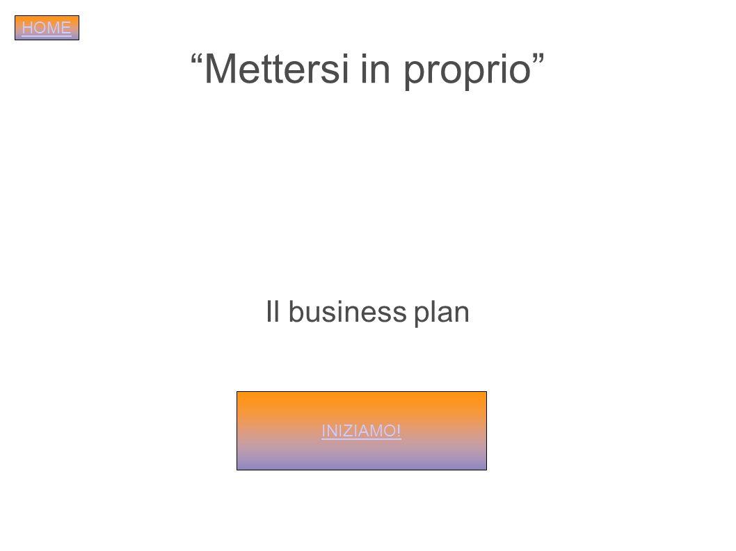 HOME Mettersi in proprio Il business plan INIZIAMO!