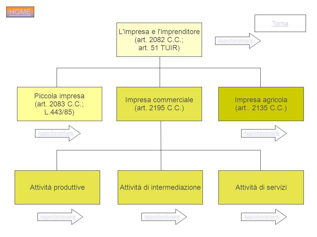 L impresa e l imprenditore (art. 2082 C.C.; art. 51 TUIR)