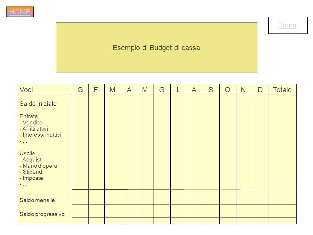 Esempio di Budget di cassa