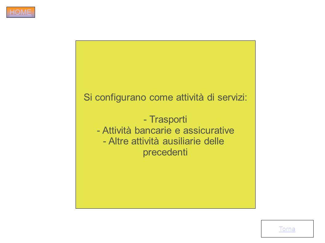 Si configurano come attività di servizi: - Trasporti