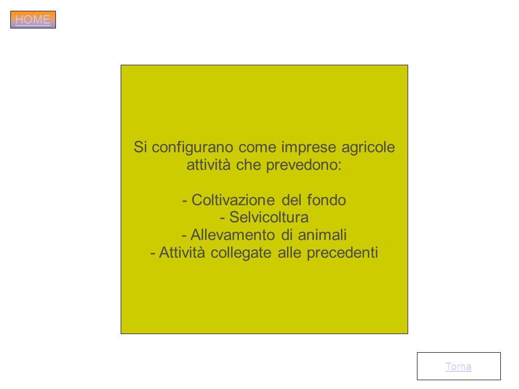 Si configurano come imprese agricole attività che prevedono: