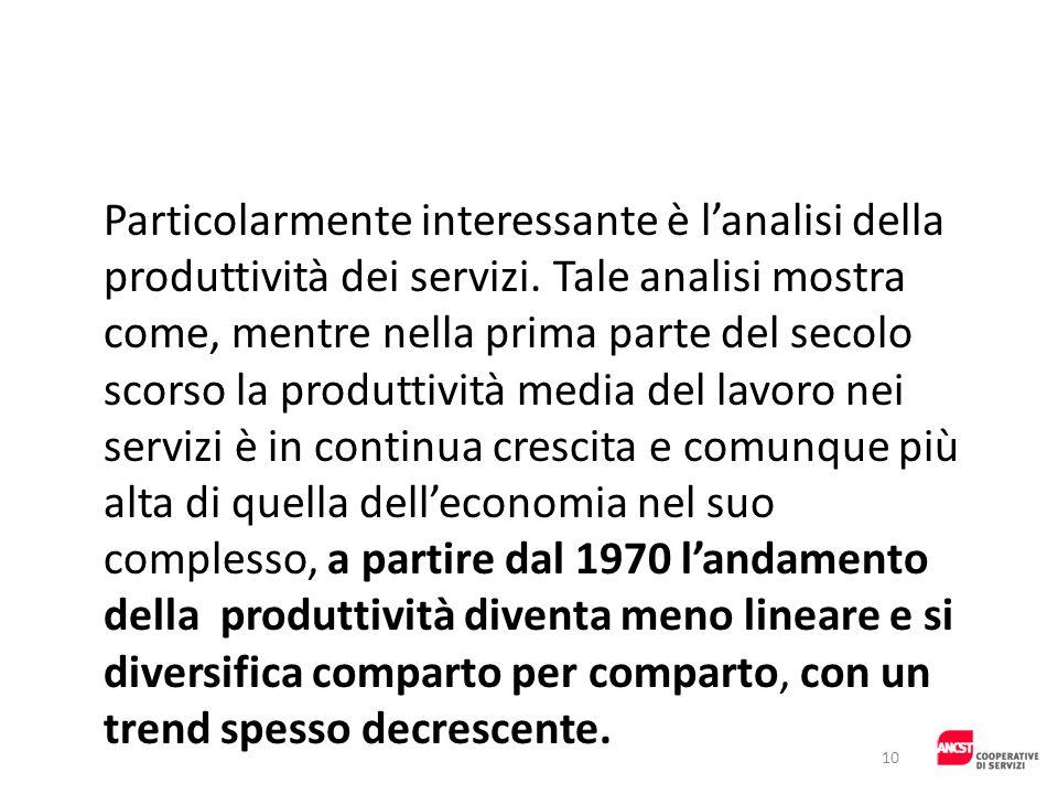 Particolarmente interessante è l'analisi della produttività dei servizi.