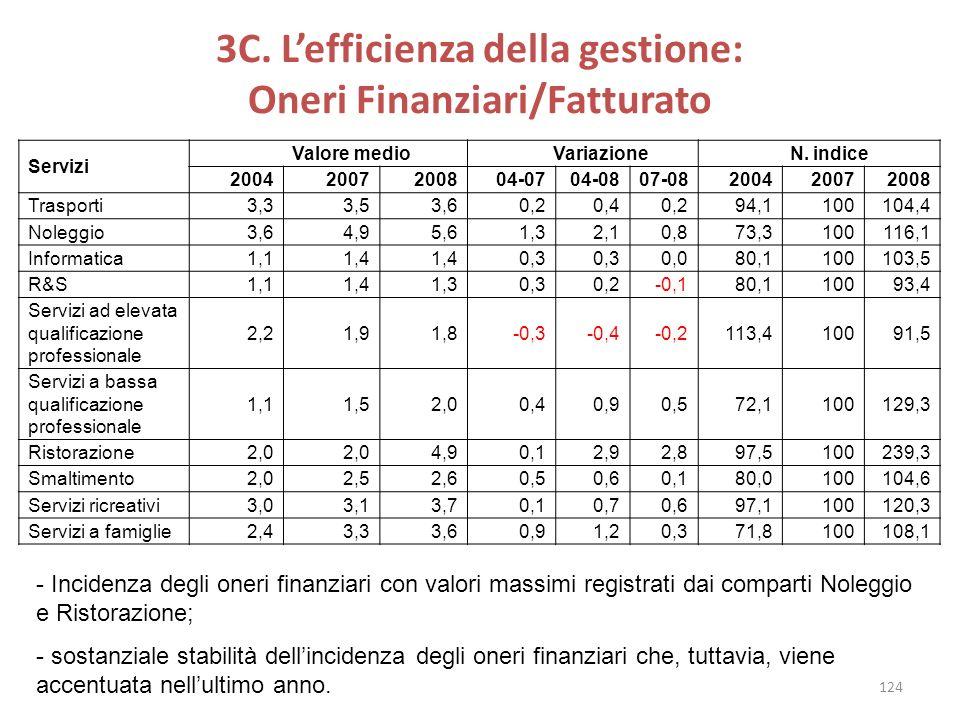 3C. L'efficienza della gestione: Oneri Finanziari/Fatturato