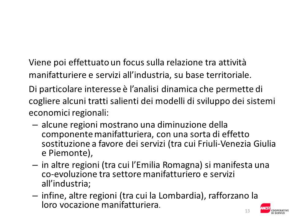 Viene poi effettuato un focus sulla relazione tra attività manifatturiere e servizi all'industria, su base territoriale.