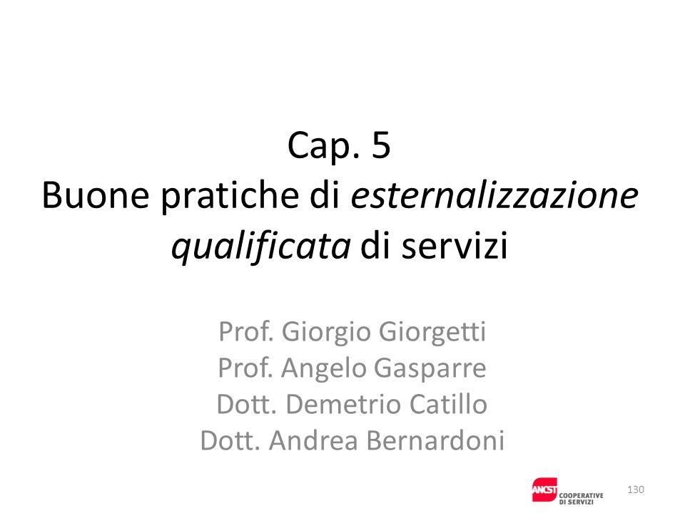 Cap. 5 Buone pratiche di esternalizzazione qualificata di servizi