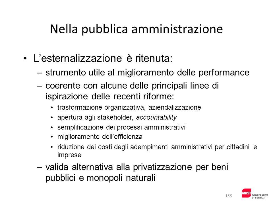 Nella pubblica amministrazione