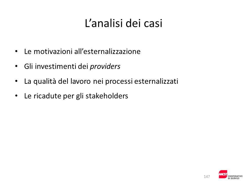 L'analisi dei casi Le motivazioni all'esternalizzazione
