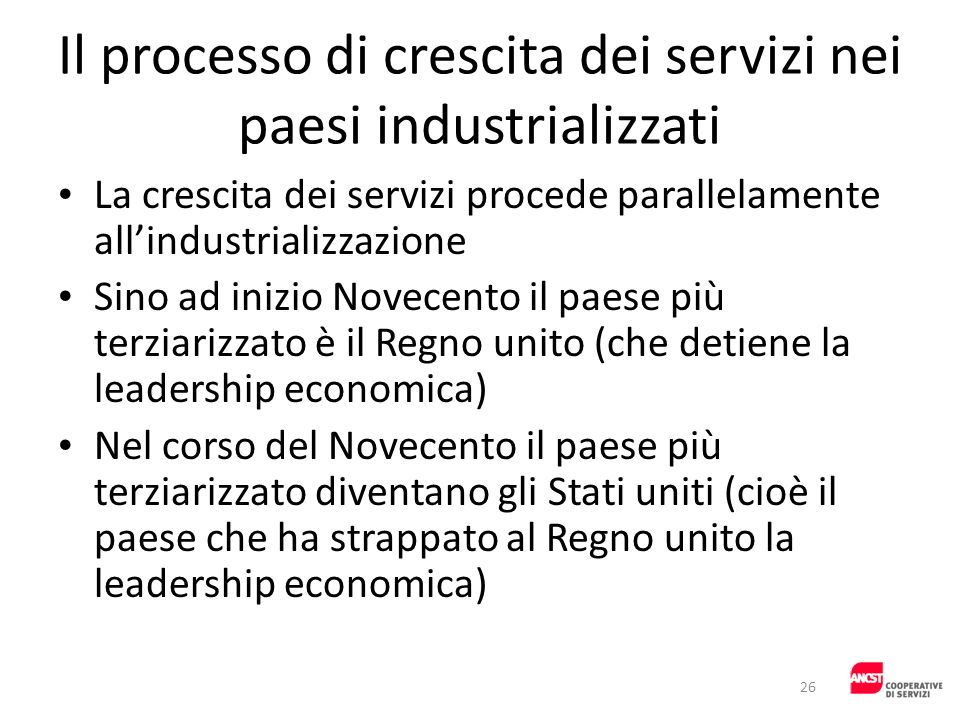 Il processo di crescita dei servizi nei paesi industrializzati