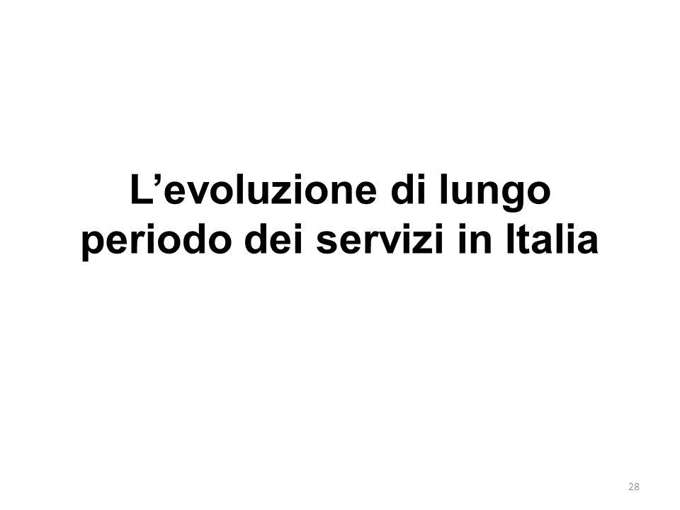 L'evoluzione di lungo periodo dei servizi in Italia
