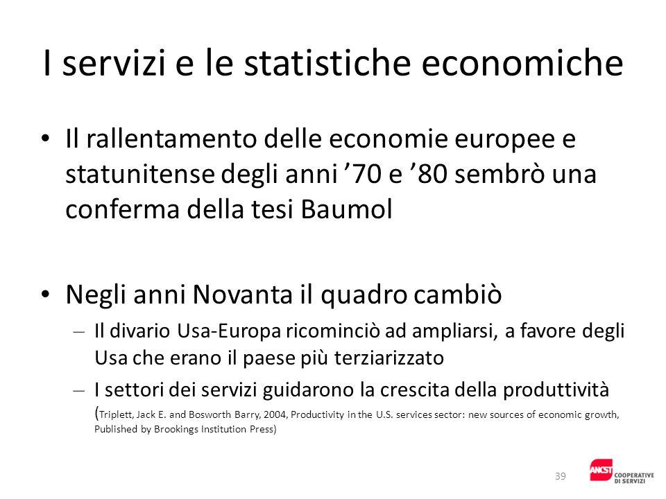 I servizi e le statistiche economiche