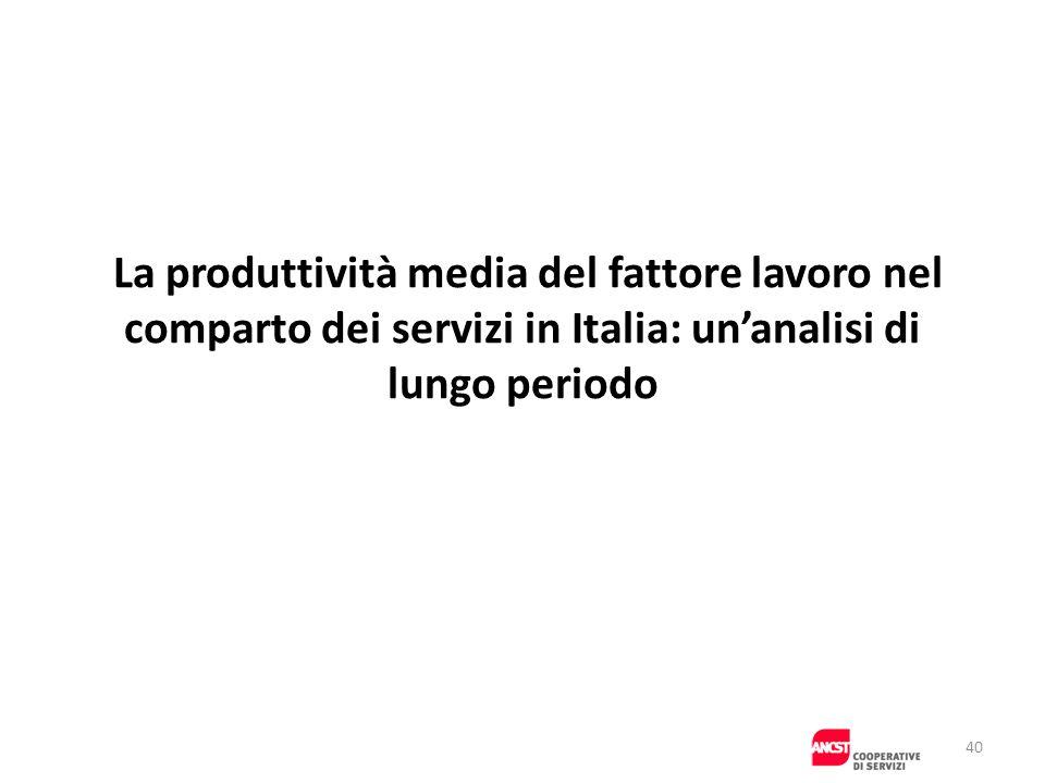 La produttività media del fattore lavoro nel comparto dei servizi in Italia: un'analisi di lungo periodo