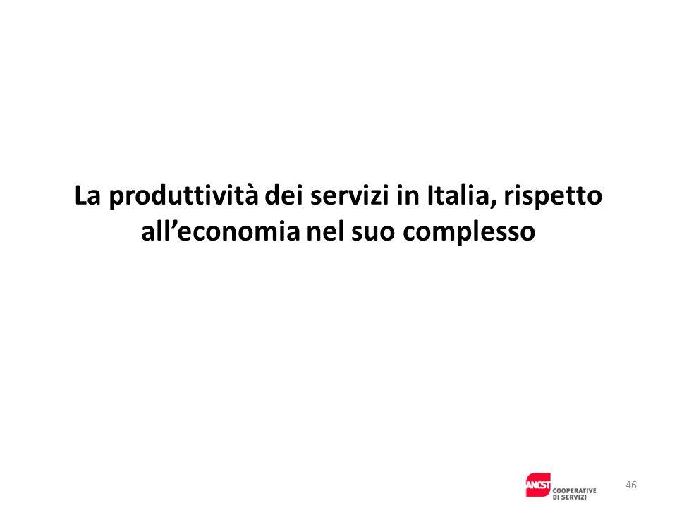 La produttività dei servizi in Italia, rispetto all'economia nel suo complesso
