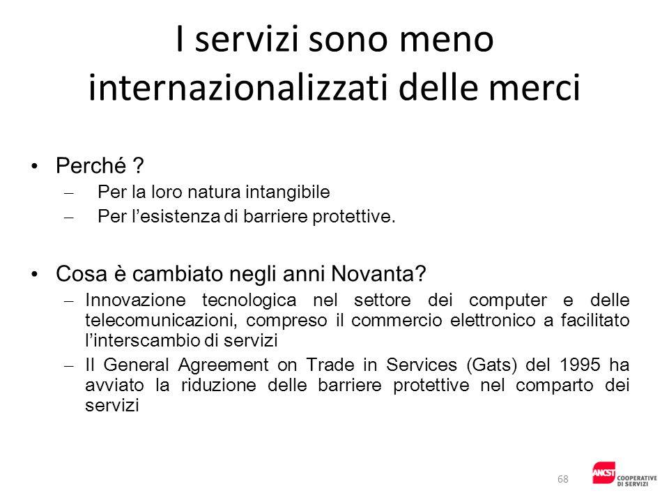 I servizi sono meno internazionalizzati delle merci