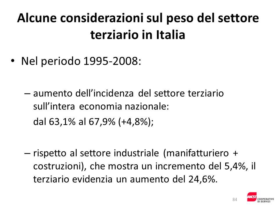 Alcune considerazioni sul peso del settore terziario in Italia