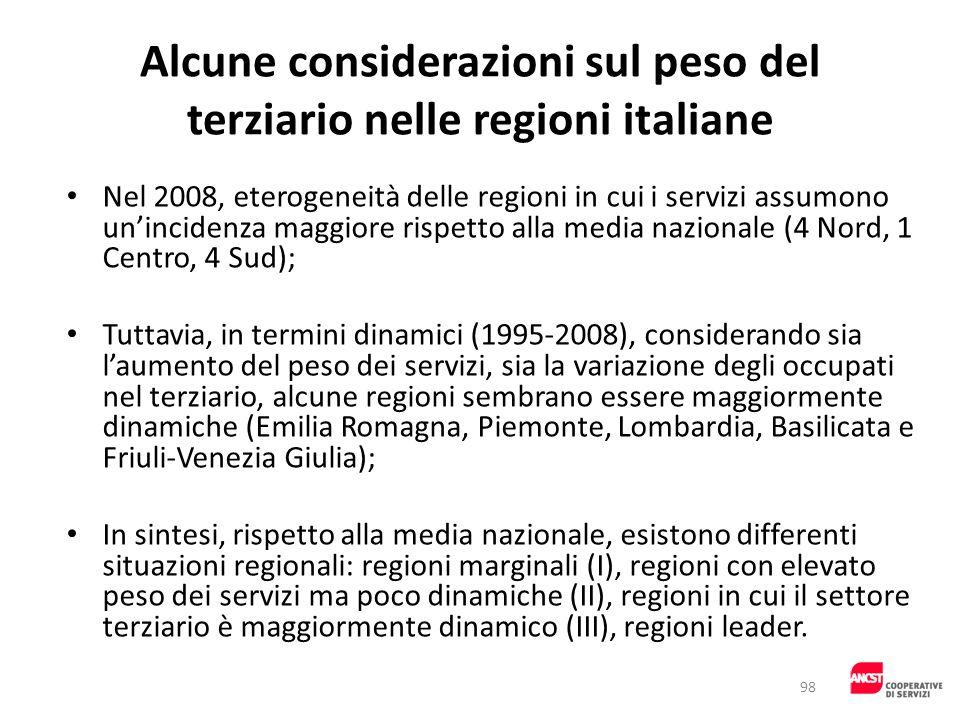 Alcune considerazioni sul peso del terziario nelle regioni italiane