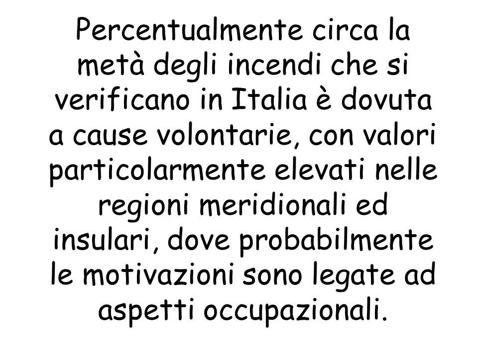Percentualmente circa la metà degli incendi che si verificano in Italia è dovuta a cause volontarie, con valori particolarmente elevati nelle regioni meridionali ed insulari, dove probabilmente le motivazioni sono legate ad aspetti occupazionali.