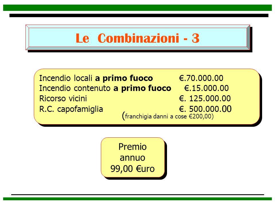 Le Combinazioni - 3 (franchigia danni a cose €200,00) Premio annuo