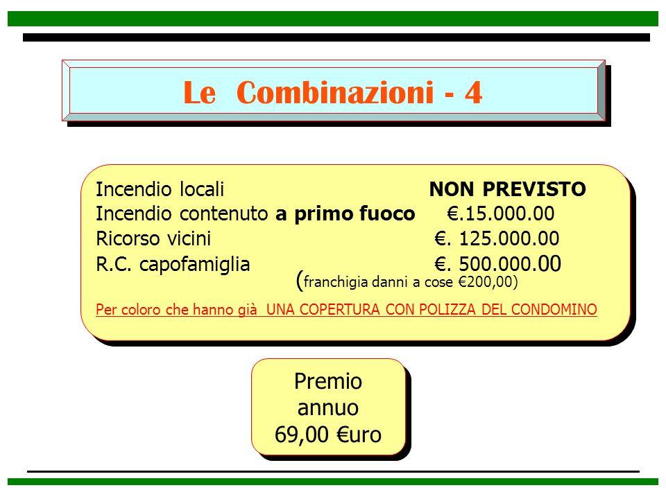 Le Combinazioni - 4 (franchigia danni a cose €200,00) Premio annuo