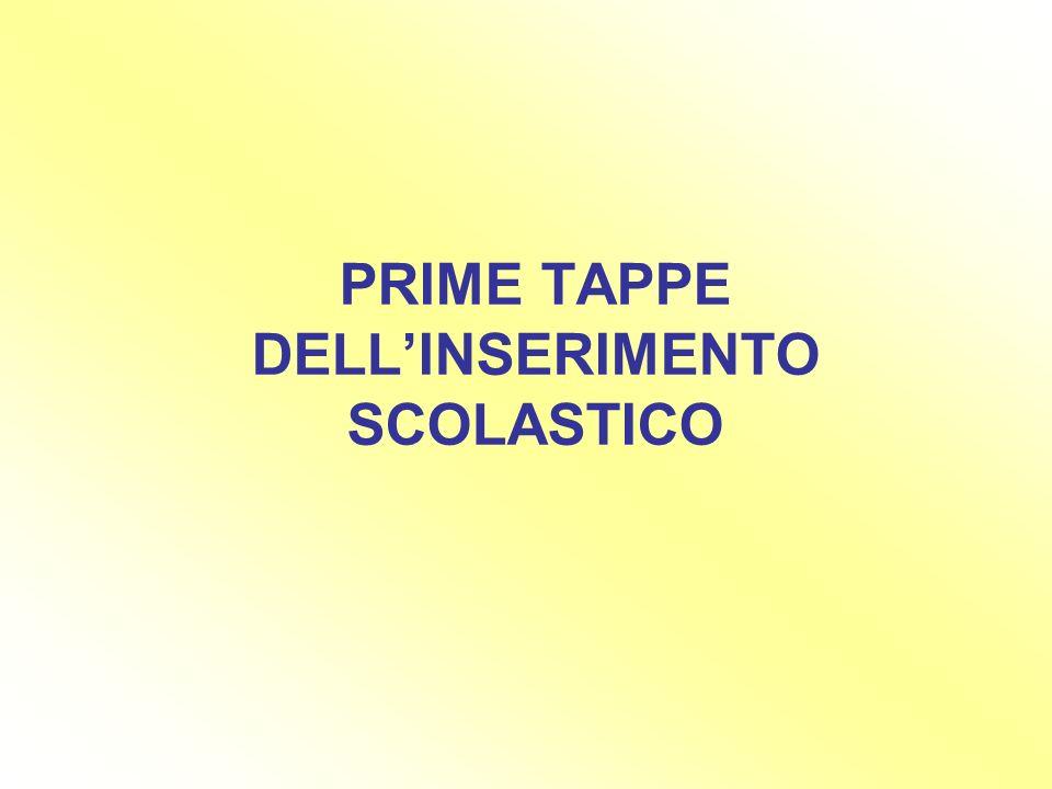 PRIME TAPPE DELL'INSERIMENTO SCOLASTICO
