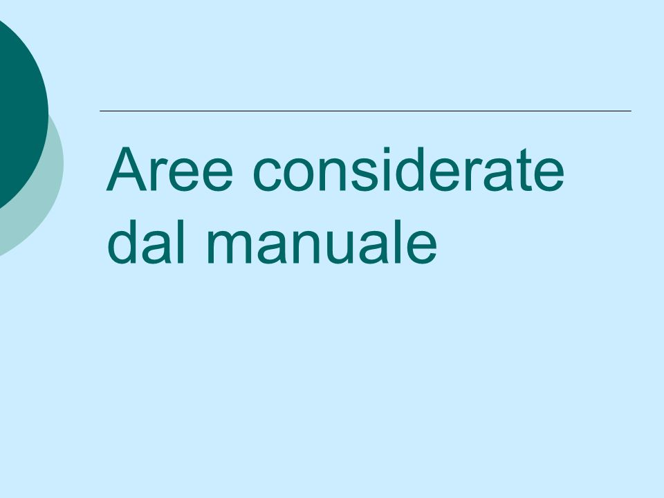 Aree considerate dal manuale