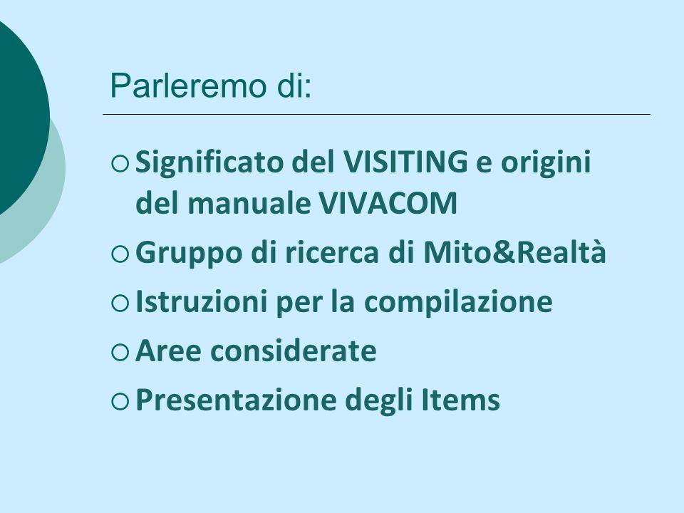 Parleremo di: Significato del VISITING e origini del manuale VIVACOM. Gruppo di ricerca di Mito&Realtà.